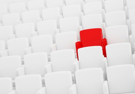 the auditorium with one reserved seat  Stock Photo