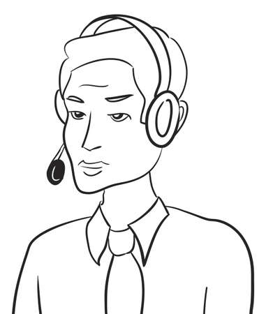 Customer support man talking with headset Stock Photo - 13354603