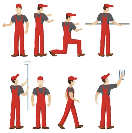 Isolated workers with tools Vector
