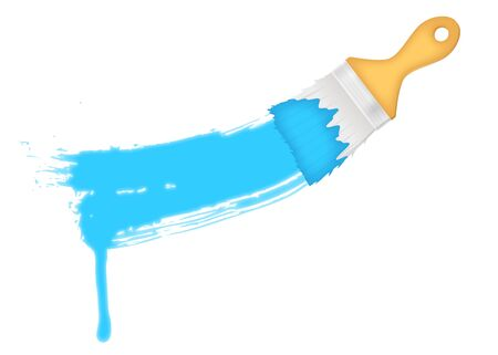 flat brush: flat brush with blue paints splash over a white background Illustration