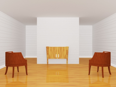 Gallerys hall with chairs and wooden console-table photo