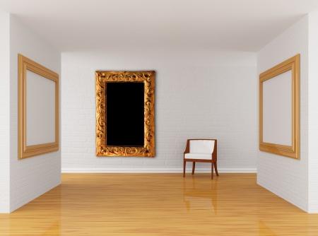 Galleria vuota di sala con sedia Archivio Fotografico