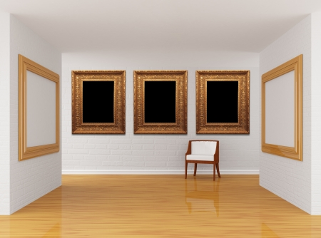 Empty gallerys hall with chair photo