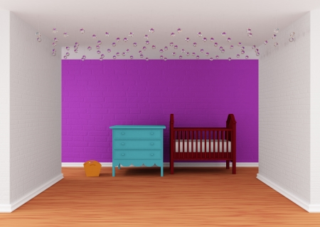 chandelier  kids: Baby bedroom with a crib