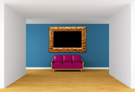 Empty gallerys hall with purple couch photo