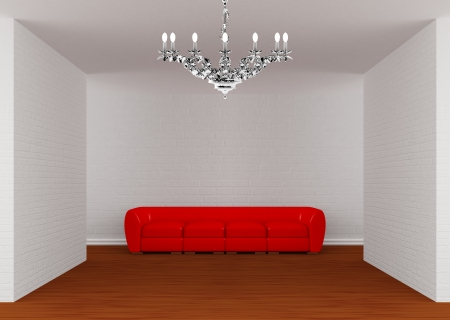 Gallerys hall with red sofa