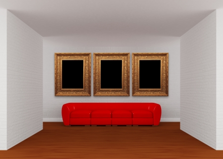 Gallerys hall with red sofa photo