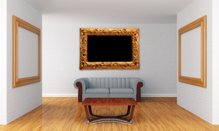 Grunge show room with picture frames photo