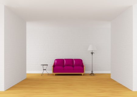 Purple couch, table and standard lamp in gallery's hall 