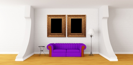 Purple couch, table and standard lamp in modern gallery's hall Stock Photo - 13654951