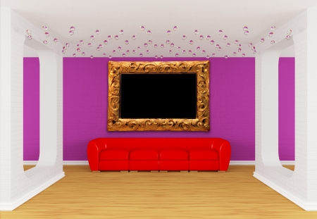 divan: modern gallerys hall with red divan Stock Photo