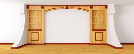 Empty bookcase in modern interior photo