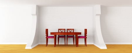 wooden table and chairs in a modern white dining room photo