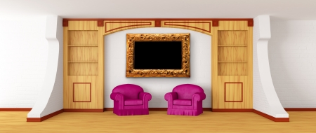 Purple chairs with bookcase in modern interior   photo