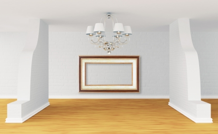 Empty room with alone luxurious chandelier photo