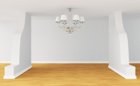Empty room with alone luxurious chandelier Stock Photo