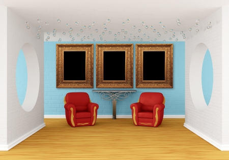 gallery's hall with red chairs and metallic table Stock Photo - 13679413