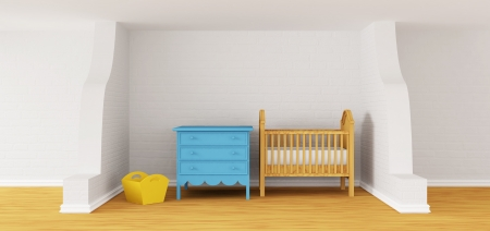 Baby bedroom with a crib.  photo
