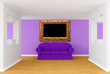 gallerys hall with purple sofa photo