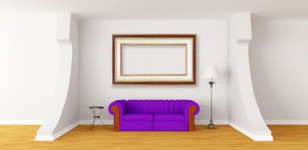 Purple couch, table and standard lamp in modern gallerys hall photo