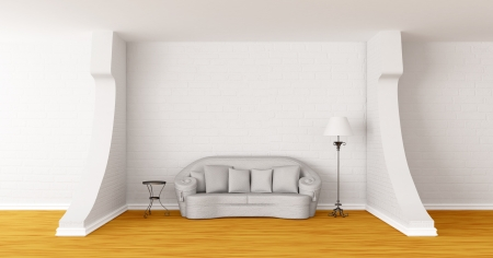 White couch, table and standard lamp in modern gallerys hall photo