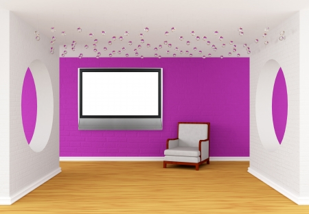 pink gallerys hall with white chair photo