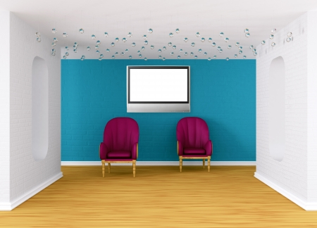 gallery's hall with purple armchairs Stock Photo - 13679397