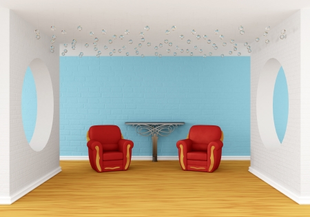 gallery's hall with red chairs and metallic table Stock Photo - 13679389