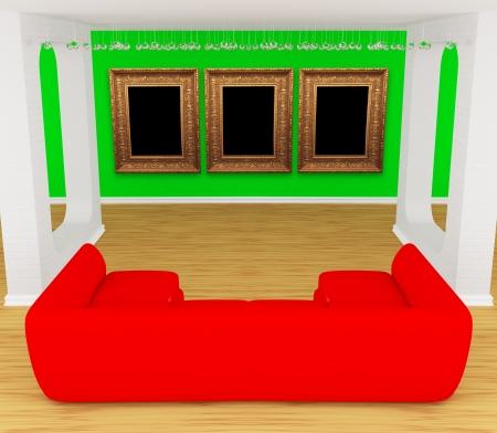 divan: moderne Galerie der Halle mit rotem Sofa