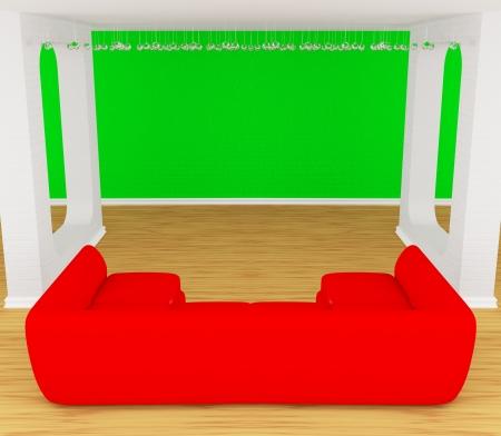 divan: Moderne Galerie der Halle mit roten Diwan Lizenzfreie Bilder