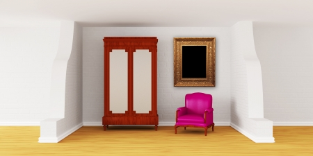 Cupboard with luxurious chair in modern interior  photo