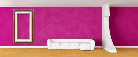 Purple gallerys hall with white sofa photo