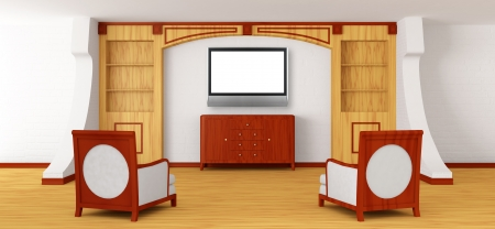 Luxurious chairs, bureau and lcd tv with bookcase in modern interior   photo