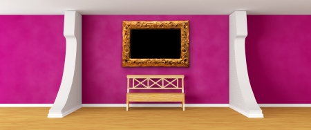 gallerys hall with bench and ornate frame   photo