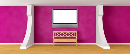 gallerys hall with bench and lcd tv   photo