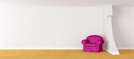 antique chair: alone purple armchair in modern minimalist interior