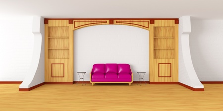 bookcase with purple couch and metallic tables in modern interior Stock Photo - 13708884