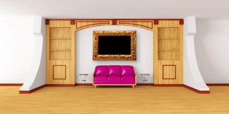 bookcase with purple couch, metallic tables and picture frame in modern interior   photo