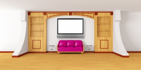 bookcase with purple couch, metallic tables and lcd tv in modern interior   photo