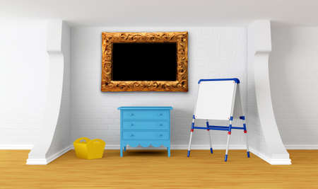 Kids room with blackboard and picture frame photo