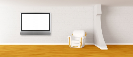 armchair with lcd TV in modern minimalist interior    photo