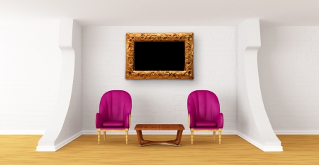 gallerys hall with luxurious chairs and wooden table   photo