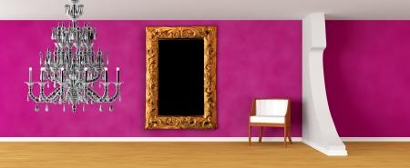 orifice: Purple gallerys hall with luxurious chair Stock Photo