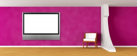Purple gallery's hall with luxurious chair and lcd tv   photo
