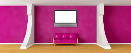 Gallery's hall with purple couch and lcd Tv   photo