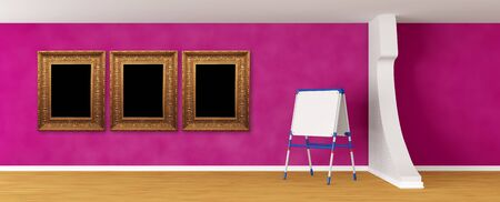 Purple room with kids board and frames photo