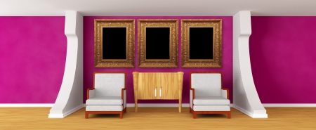 Gallery's hall with chairs and bureau with picture frames 