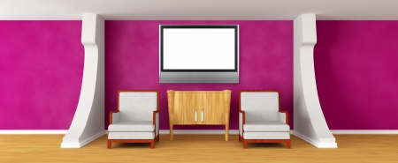 Gallerys hall with chairs, bureau and lcd tv photo