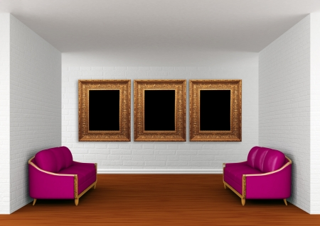 gallery's hall with purple couchs Stock Photo - 13709124