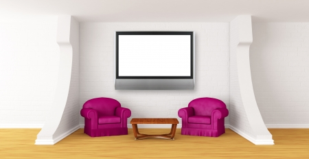 gallerys hall with luxurious chairs, wooden table and flat tv   photo